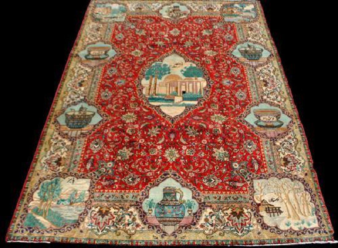 Rare Tribute to Saadi Semi Antique Persian Tabriz