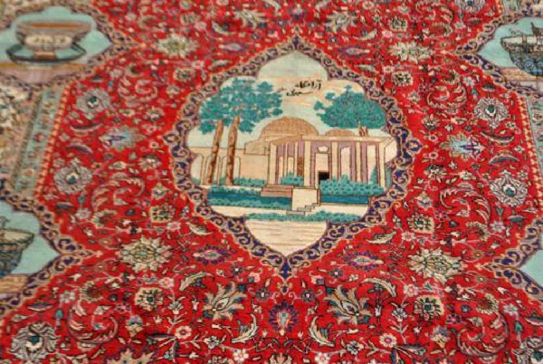 Rare Tribute to Saadi Semi Antique Persian Tabriz - 2