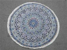 Admirable Round Wool/Silk Persian Nain 3.3x3.3