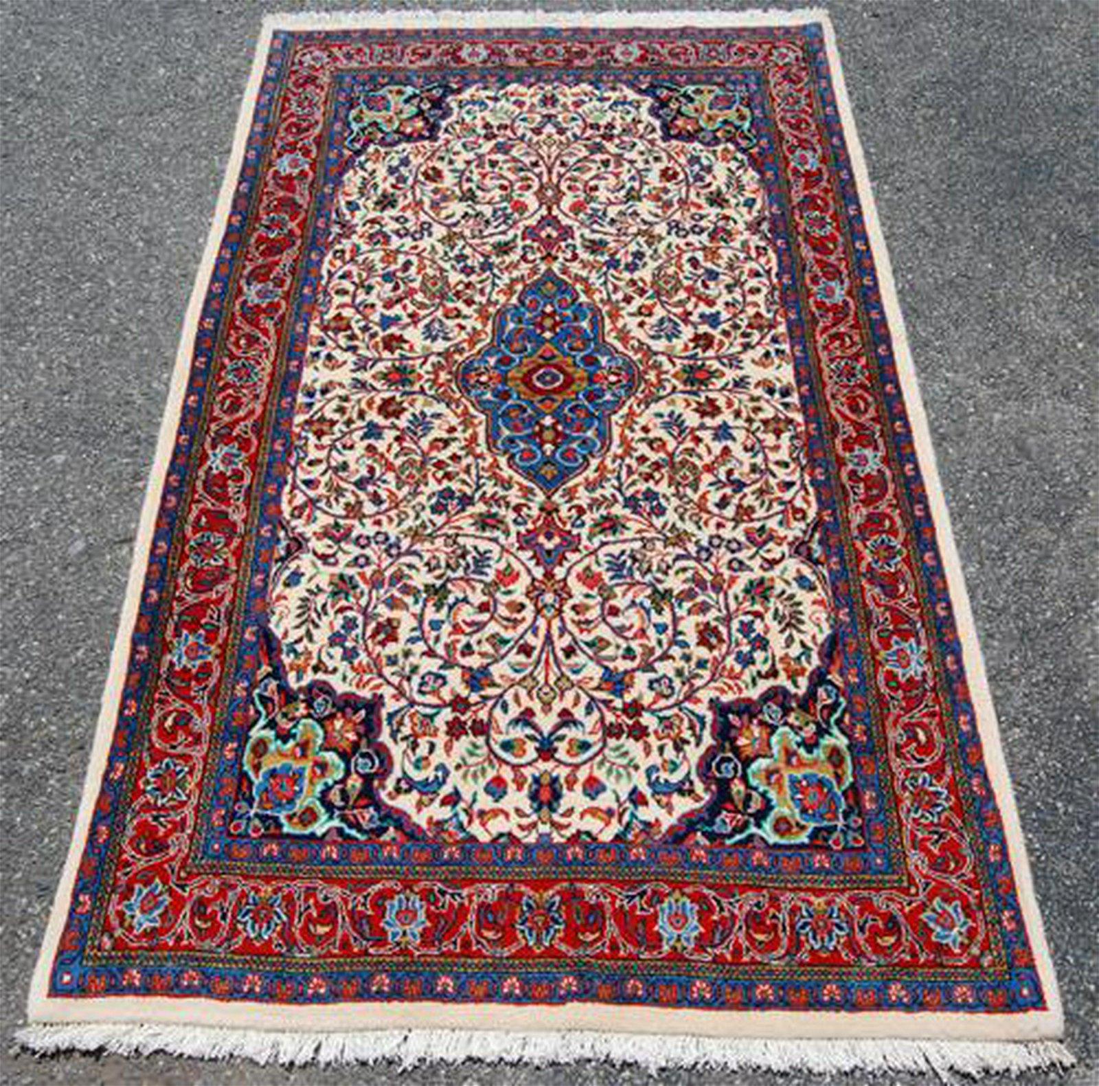 Vibrant Hand Woven Authentic Persian Sarouk 7.3x4.3