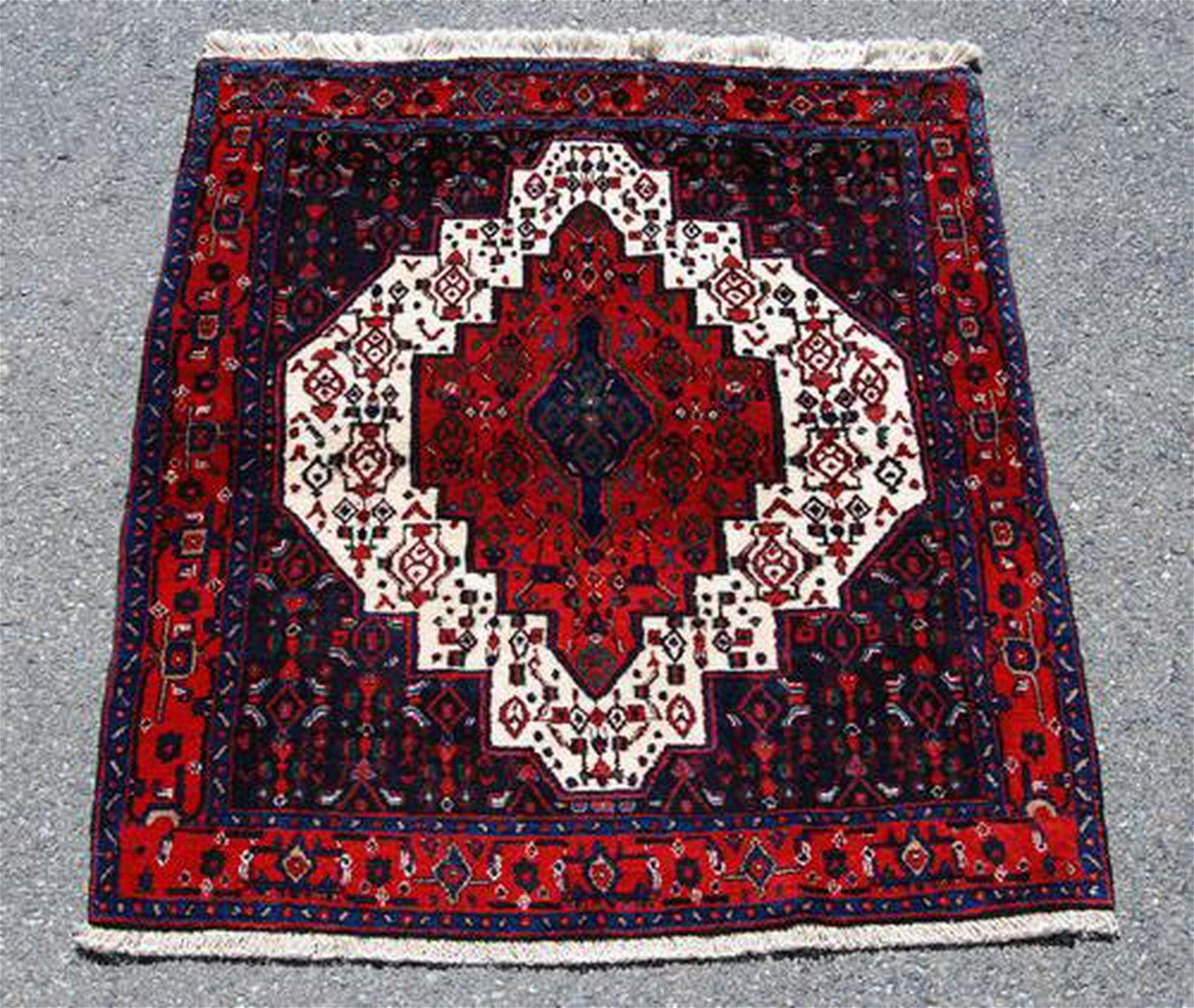 Detailed Semi Antique Square Persian Sanandaj 4.9x4.1