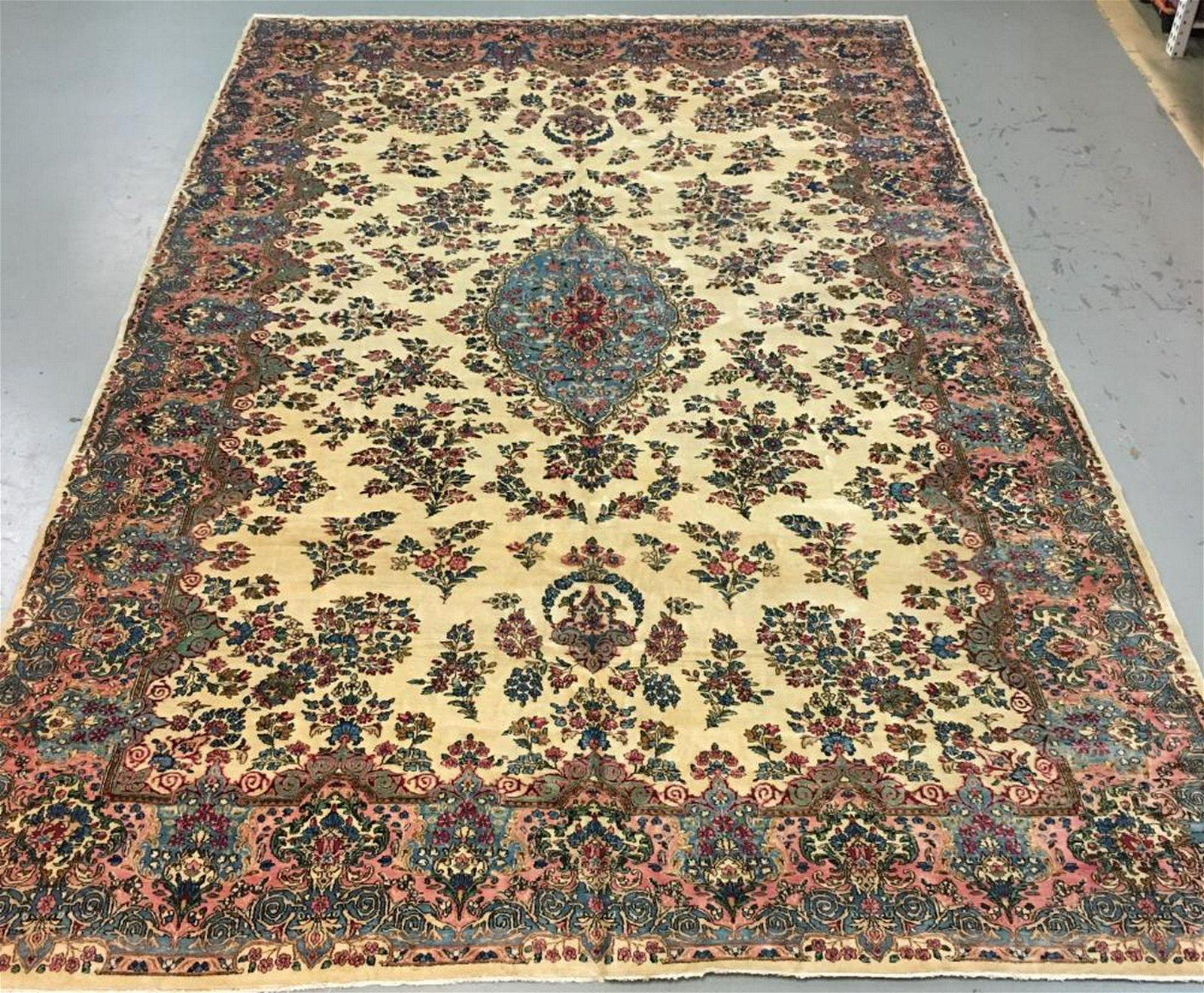 Handmade Persian Kerman 11.0x17.10
