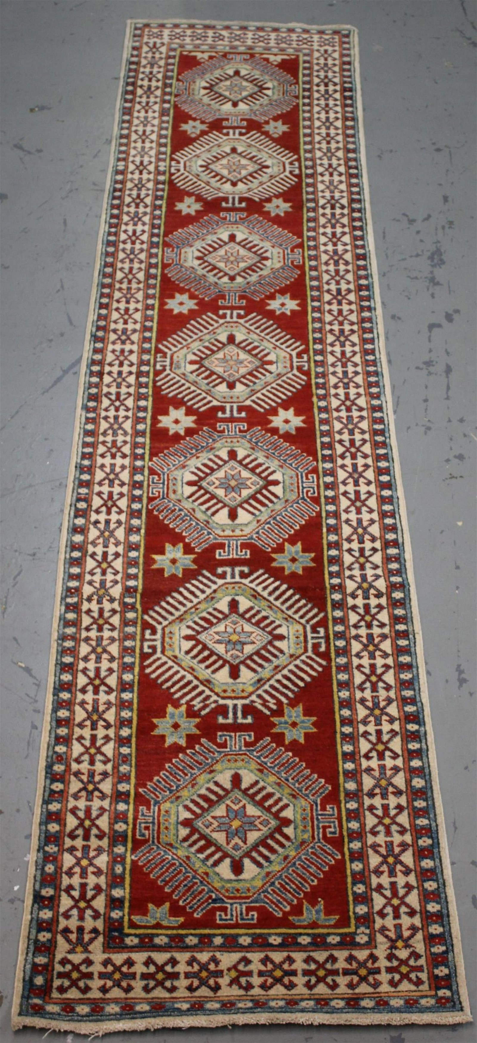 Handmade Pakistani Kazak Design Runner 2.7x12.5