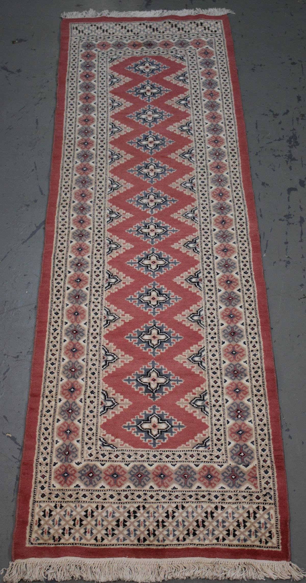 Handmade Wool/Silk Bokhara Runner 2.8x9.9