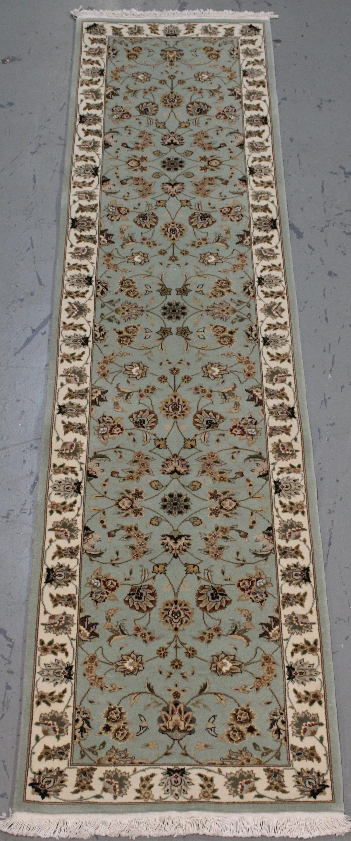 Handmade Wool/Silk Tabriz Design Runner 2.3x10