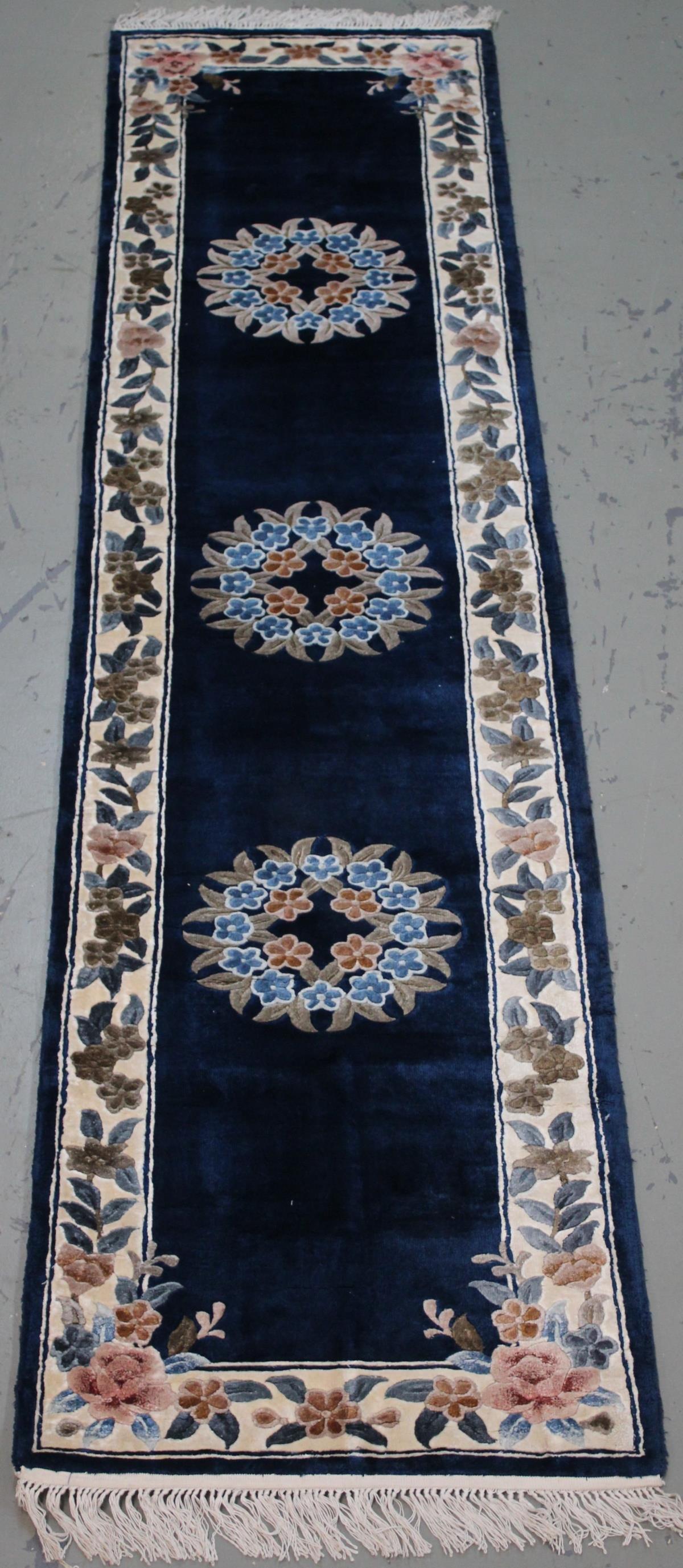 Handmade Wool & Art. Silk Chinese Runner 2.3x10.0