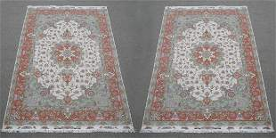 Set of Two Spectacular Wool and Silk Persian Tabriz