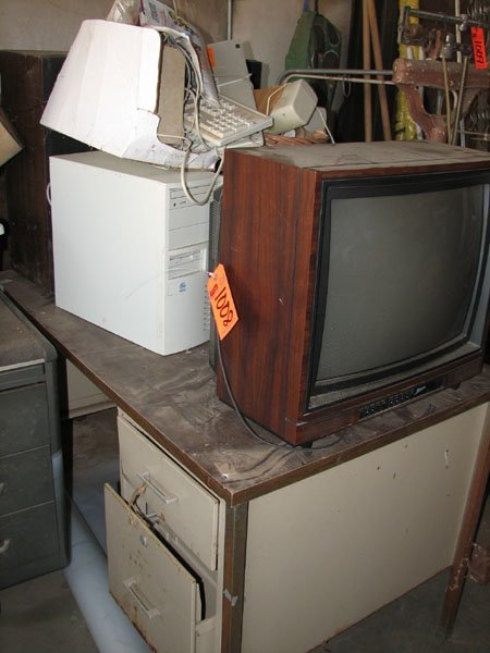 1008: ZENITH TV, DESK WITH TWO DRAWERS, INTEL COMPUTER