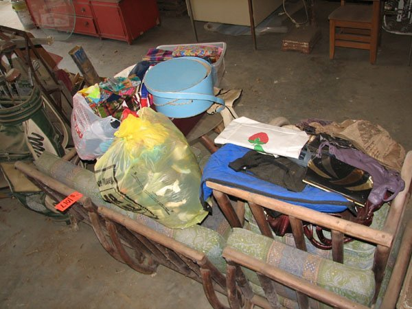 1017: WOOD LAWN FURNITURE, SOFA, AND WOOD CHAIR.  TABLE