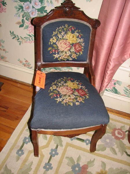 8009: ANTIQUE CHAIR WITH EMBROIDERED SEAT AND BACK