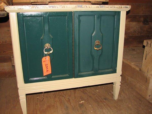 3002: 2 DOOR CABINET WITH SINGLE SHELF, LIGHT GREEN WIT