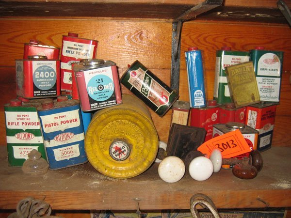 3013: MISC. LOT OF TINS ALL RELATED  TO GUN POWDER AND