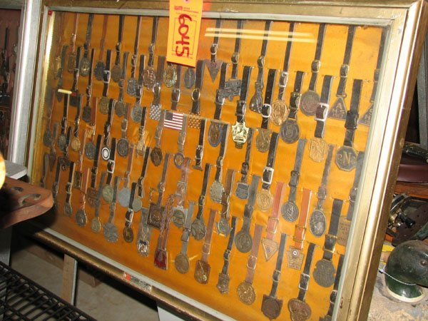 6045: ANTIQUE WATCH FOBS IN GLASS DISPLAY CASE, APPROX