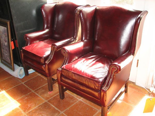 9021: MATCHING SET OF WING BACK LEATHER CHAIRS WITH BRA