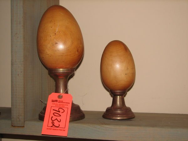 9032: SET OF HAND CARVED WOODEN EGGS MOUNTED ON COPPER