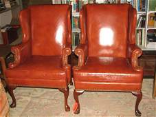 9425: MATCHING SET OF 2 BROWN LEATHER WING BACKED CHAIR