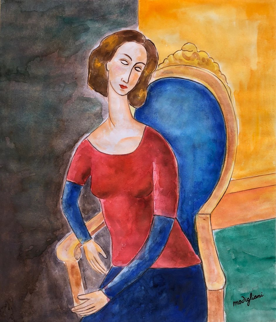 Amedeo Modigliani (Watercolor on paper)