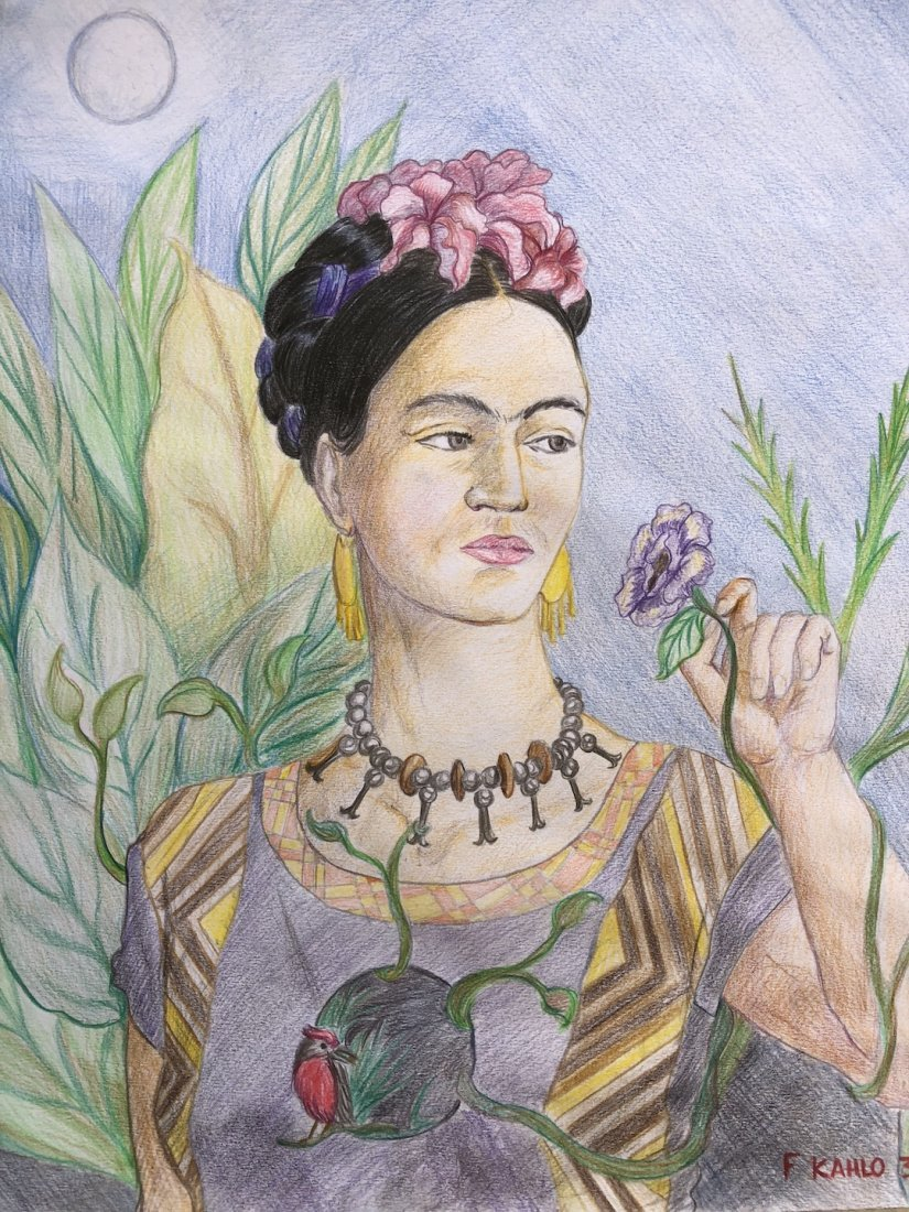 Frida Kahlo (Colored Pencil on Paper) - 2