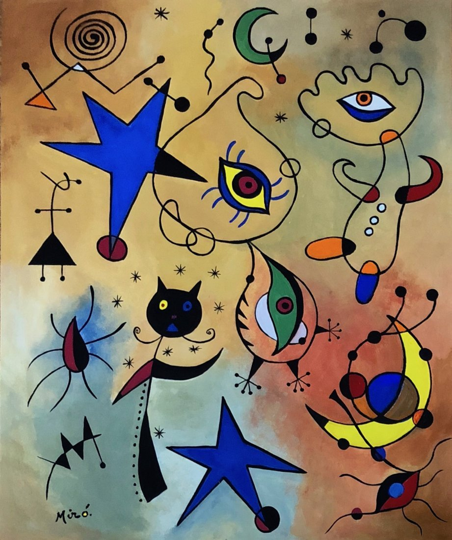 Gouache on Paper Painting Signed Miro