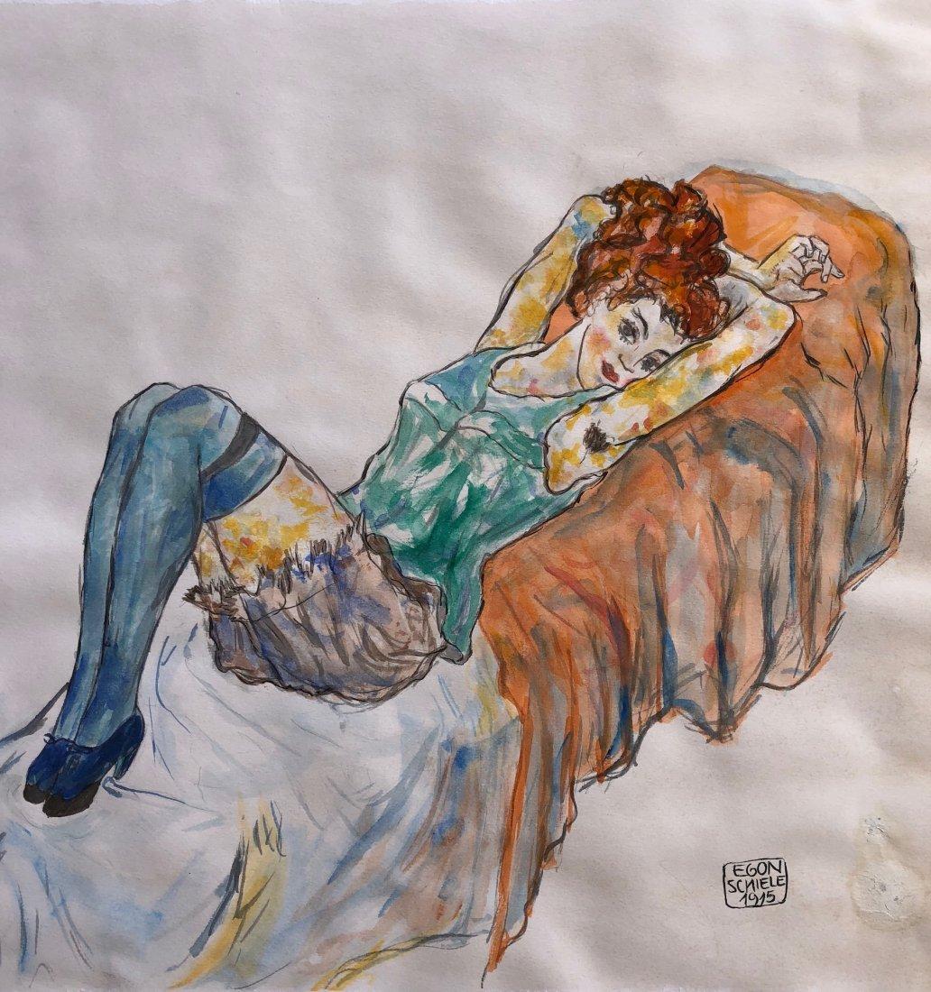 Painting Signed Egon Schiele - 2