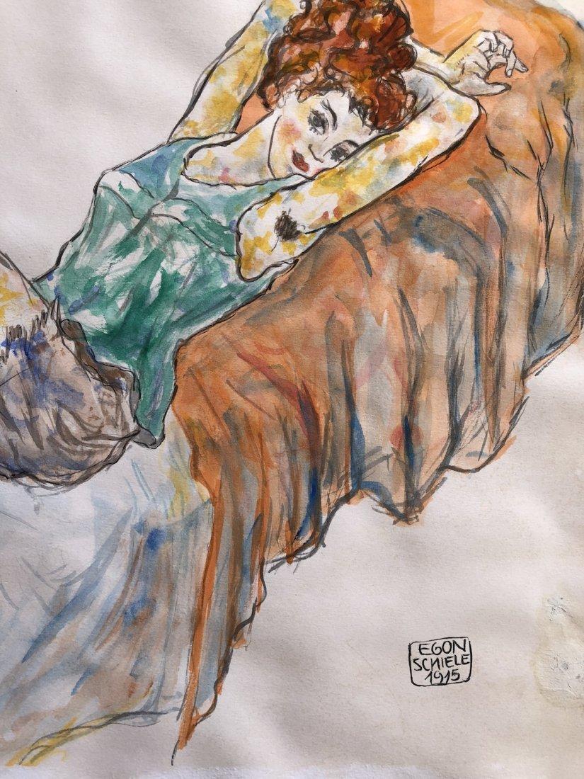 Painting Signed Egon Schiele - 3