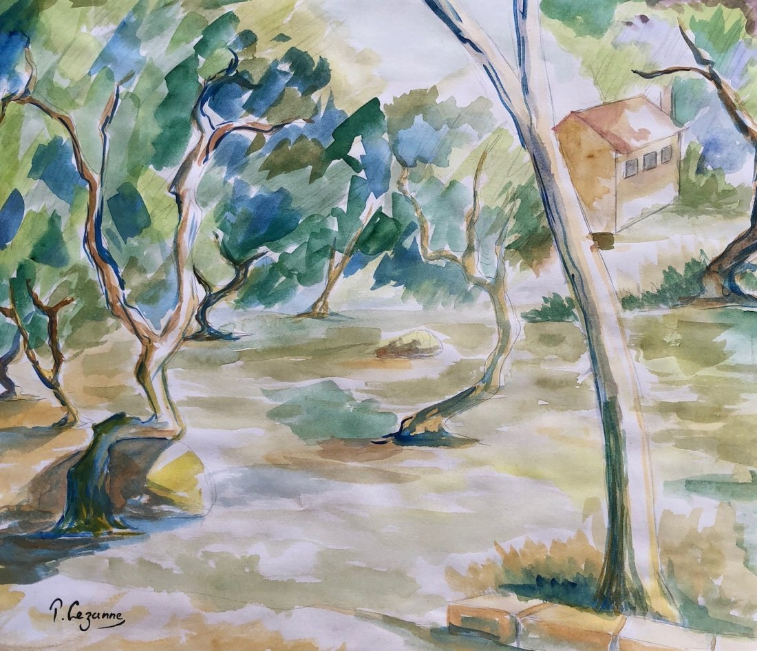 Signed P. Cezanne (Watercolor on paper)