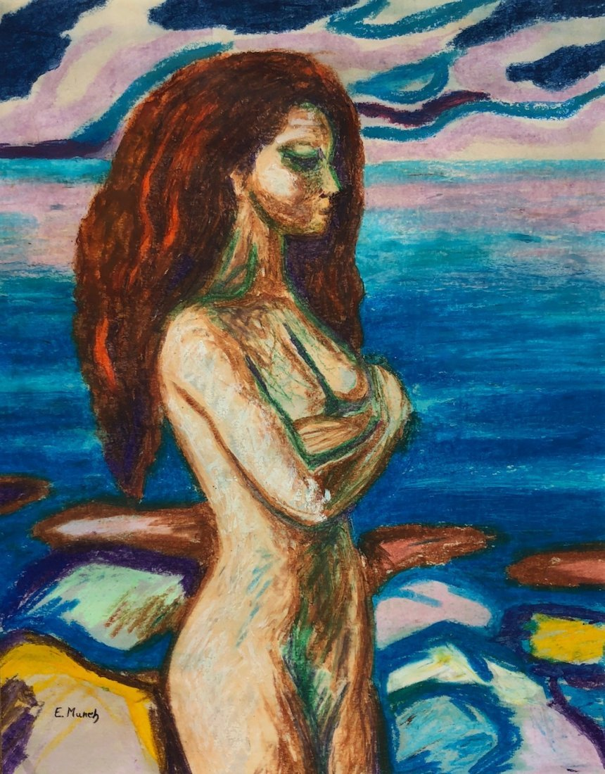 Signed E. Munch (Watercolor on paper)