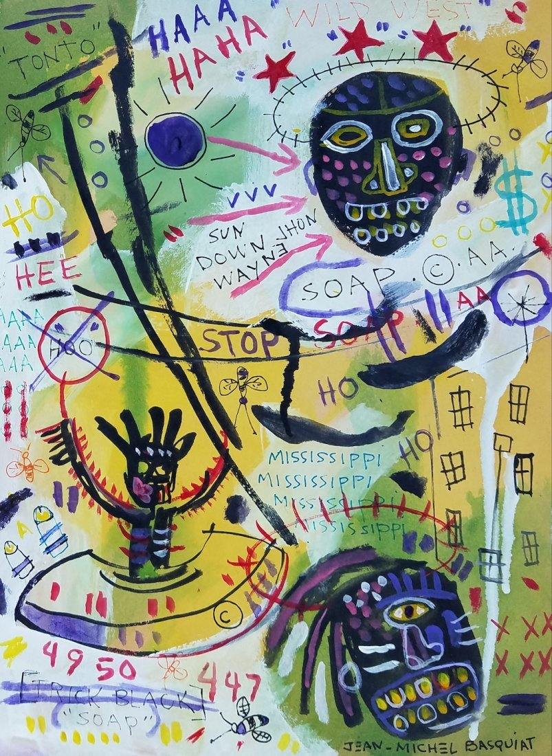 Jean Michel Basquiat (Mixed Media on Paper) ATTR.