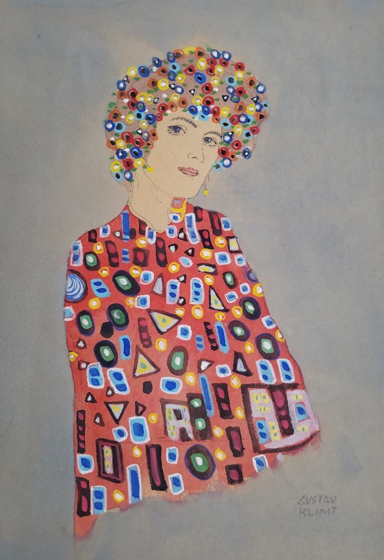 Signed Gustav Klimt (Watercolor on paper)