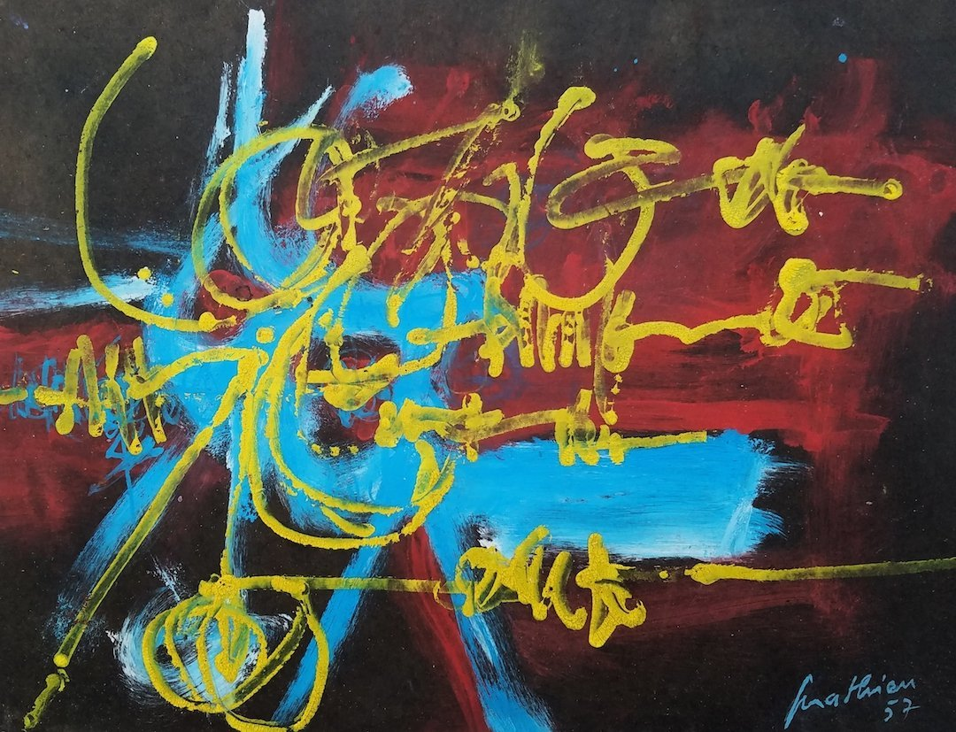 Signed Mathieu (Mixed media on Board)