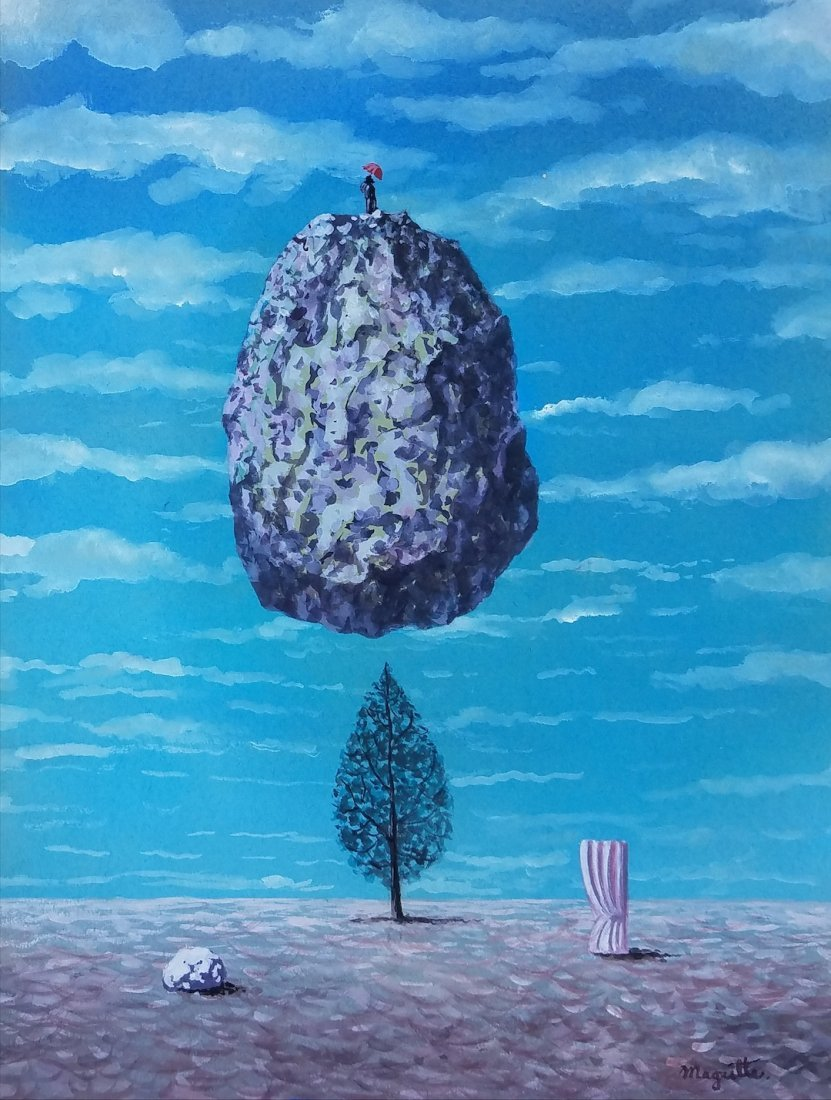 Watercolor on paper Painting signed Magritte.