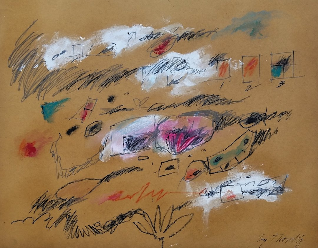 Signed Cy Twombly (Mixed Media on paper)