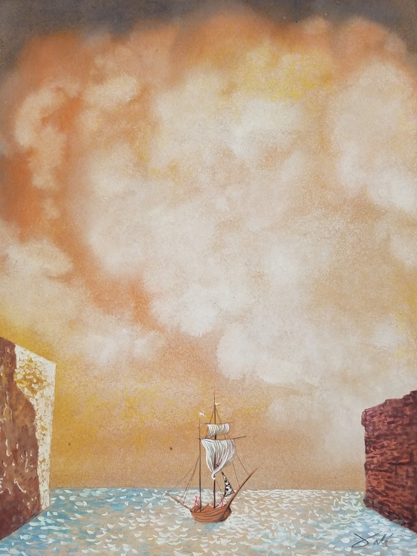 Watercolor on paper Painting signed Dali