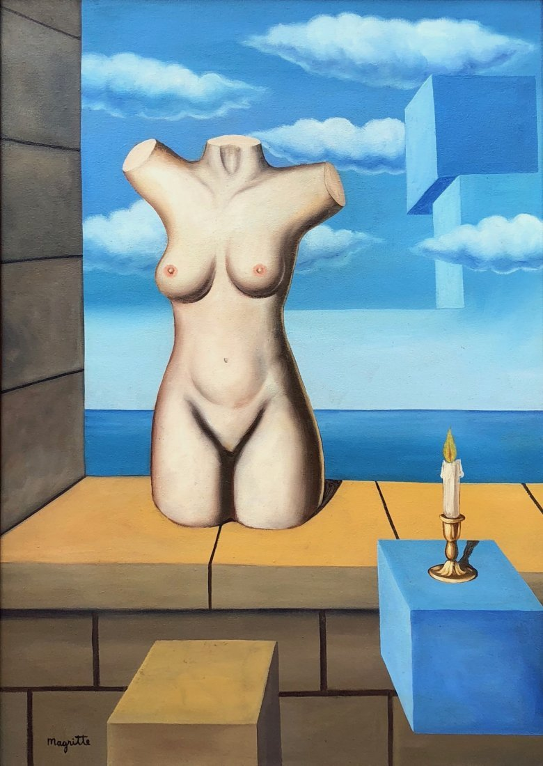 Rene Magritte (Oil on Canvas) Large Painting