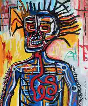 Jean Michel Basquiat (Oil Stick and mix media on paper)