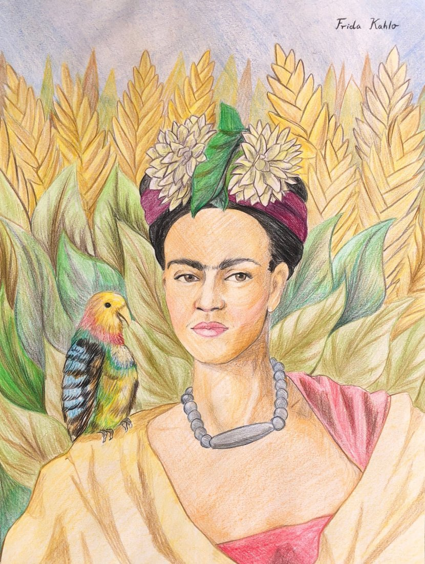 Frida Kahlo (Colored Pencils on Paper) Drawing