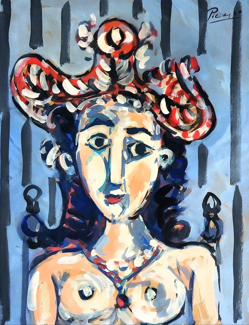 Pablo Picasso (Mixed media on paper) Attr