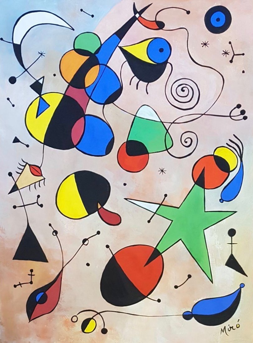 Joan Miro (Gouache on Paper) Painting