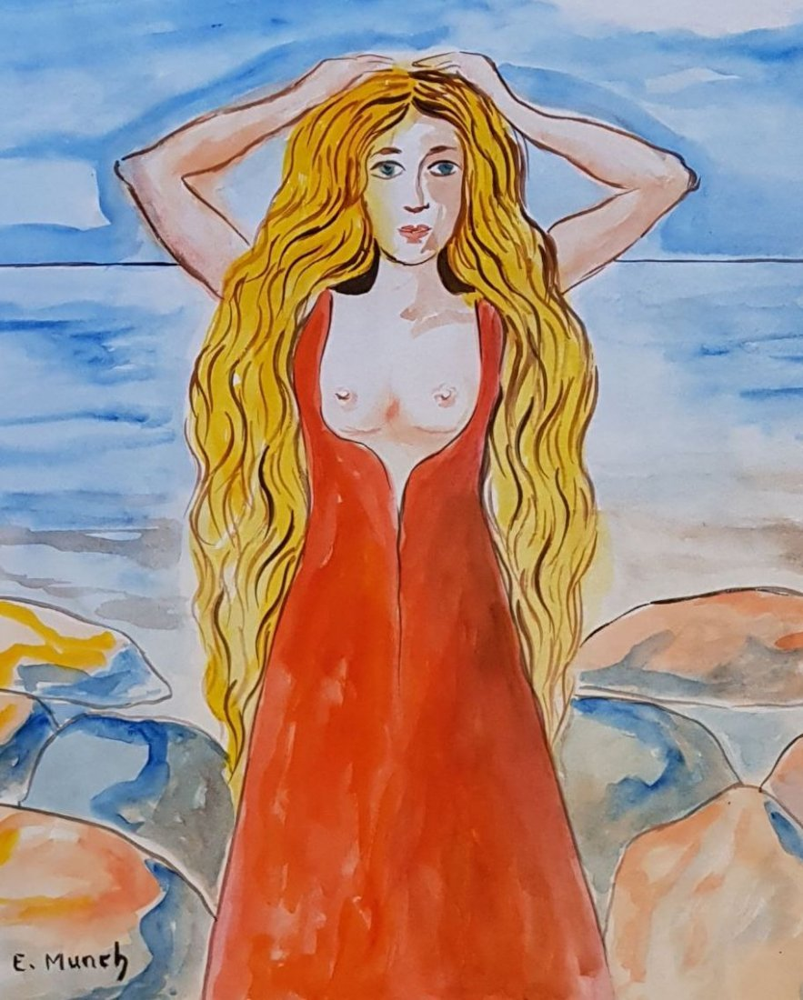 Signed E. Munch (Watercolor on paper) - 2