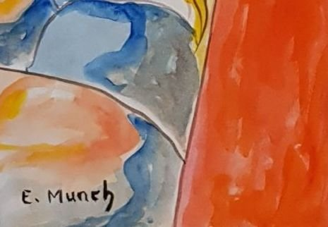Signed E. Munch (Watercolor on paper) - 3
