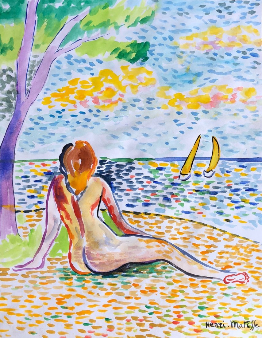 Signed Henri Matisse (watercolor on paper)