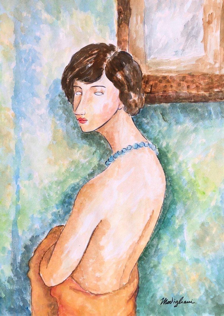 Signed Modigliani (Watercolor on paper)