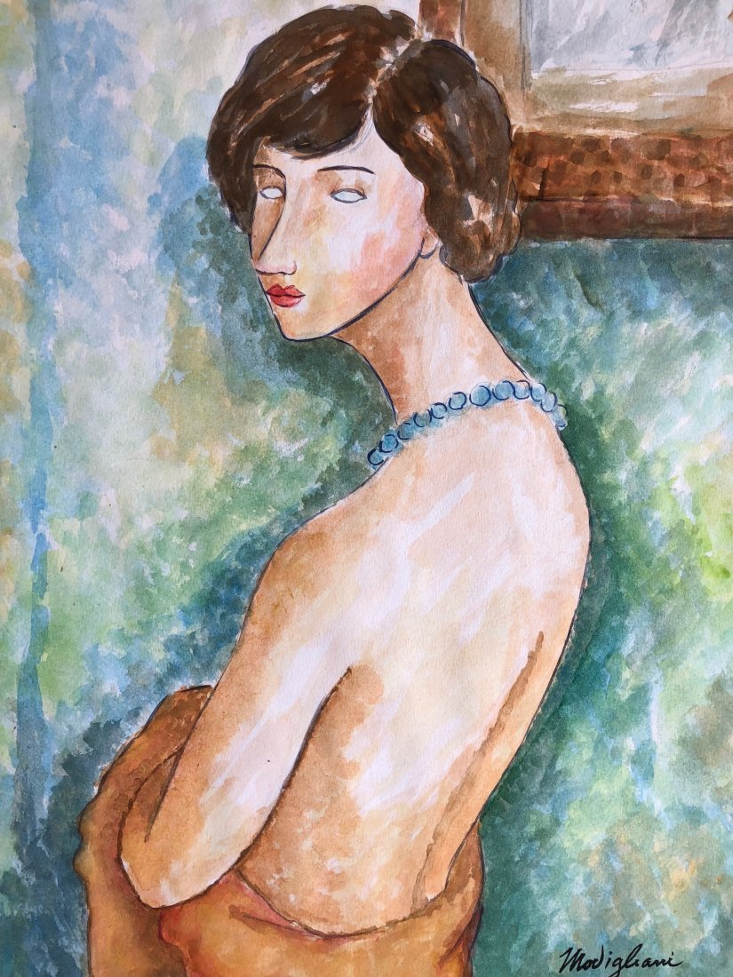 Signed Modigliani (Watercolor on paper) - 2