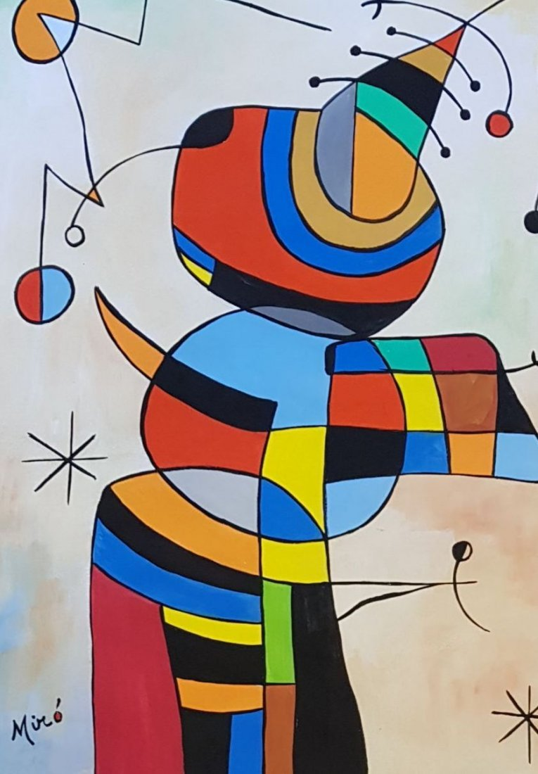 Signed Miro (Gouache on paper) - 2