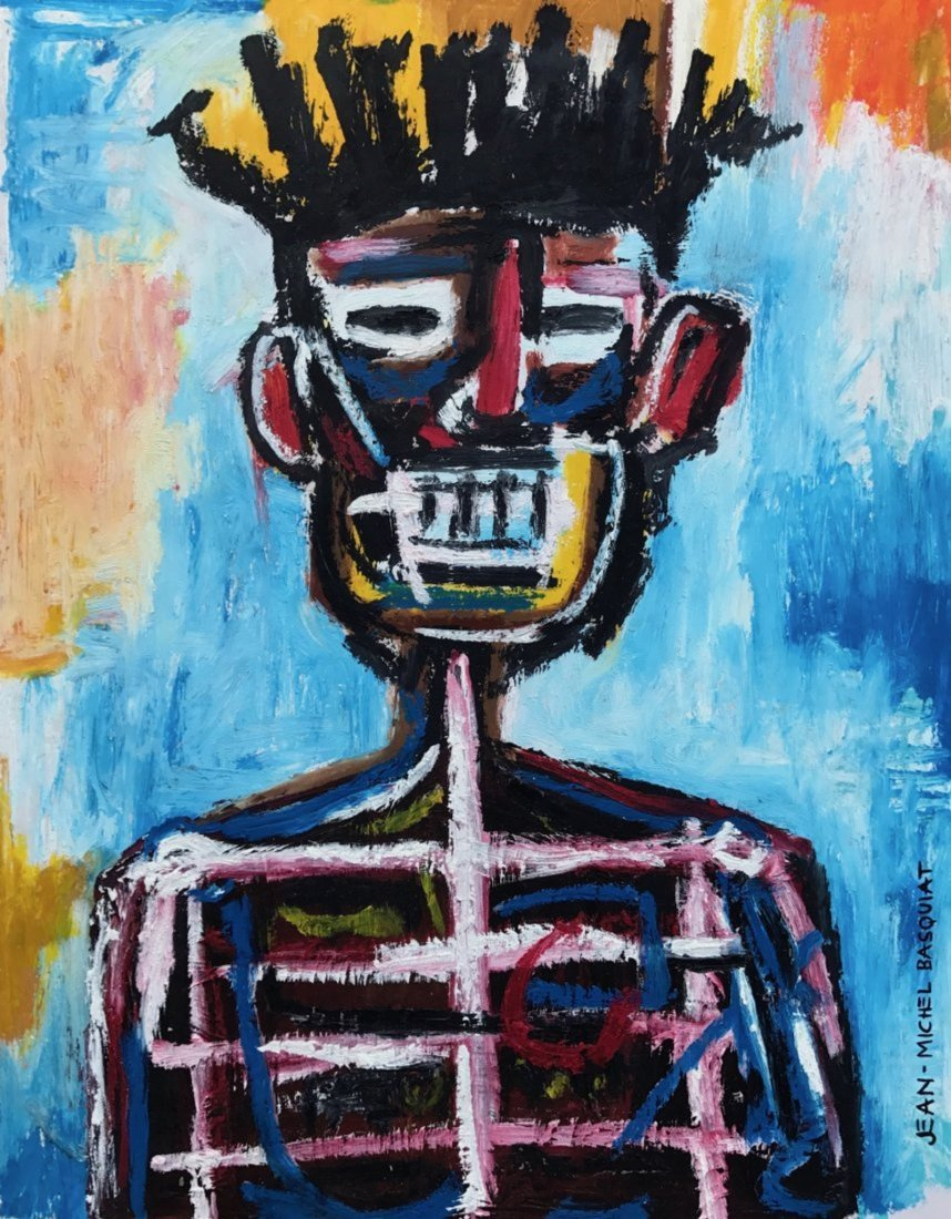 Jean Michel Basquiat (Mixed media on paper)