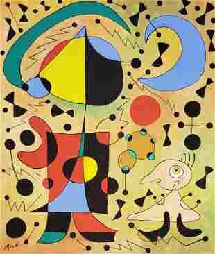 Joan Miro Gouache on Paper Painting