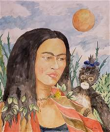 Frida Kahlo (1907-1954 Watercolor on paper)