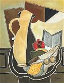 Georges Braque (Watercolor on Paper) In the Style of