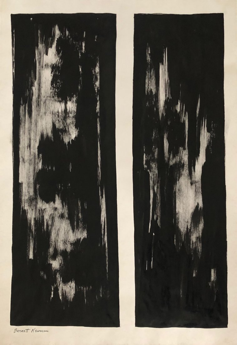 Barnett Newman (Ink On Paper) in the style of