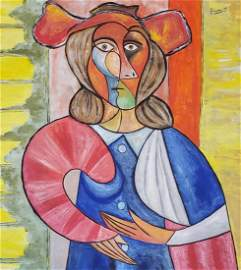 Pablo Picasso (Gouache on Paper) in the style of
